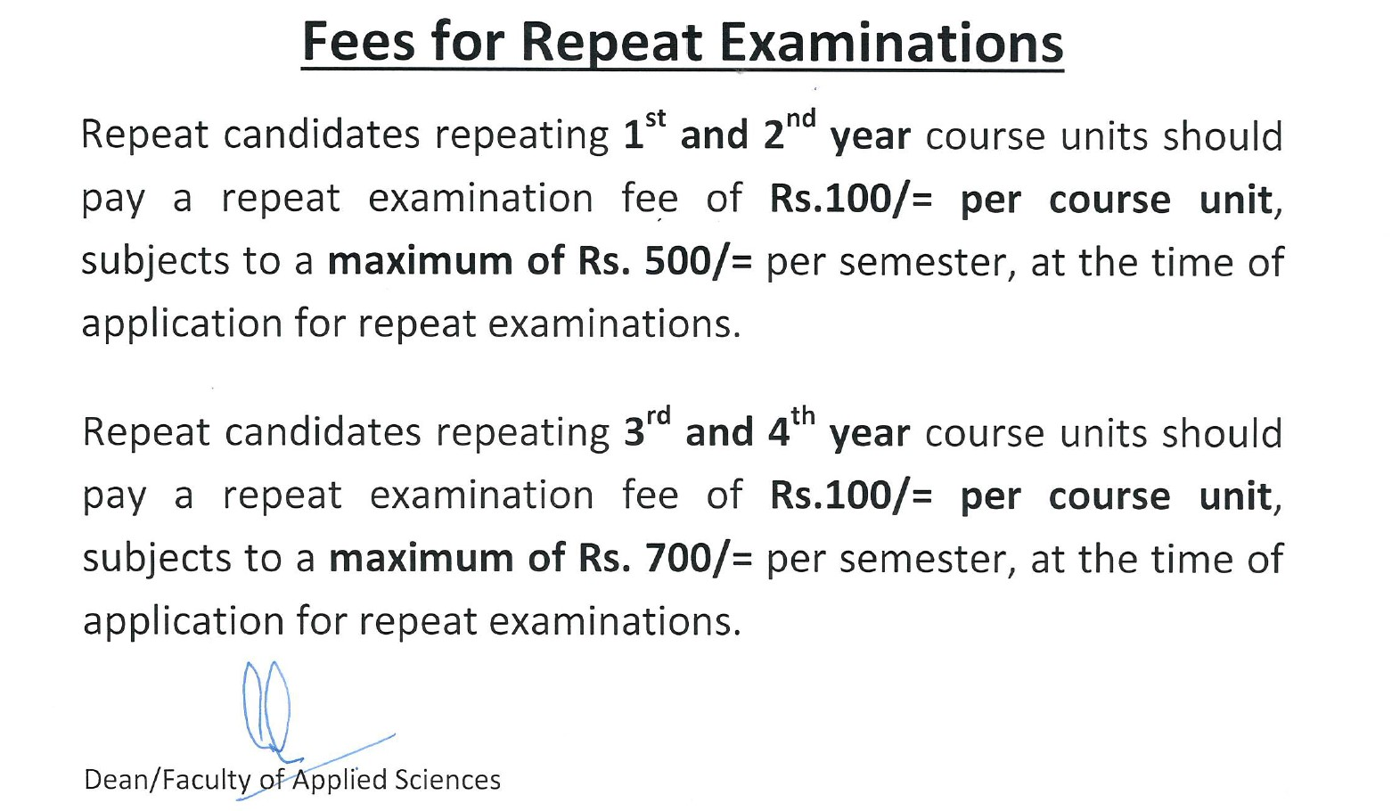 fees for repeat examinations