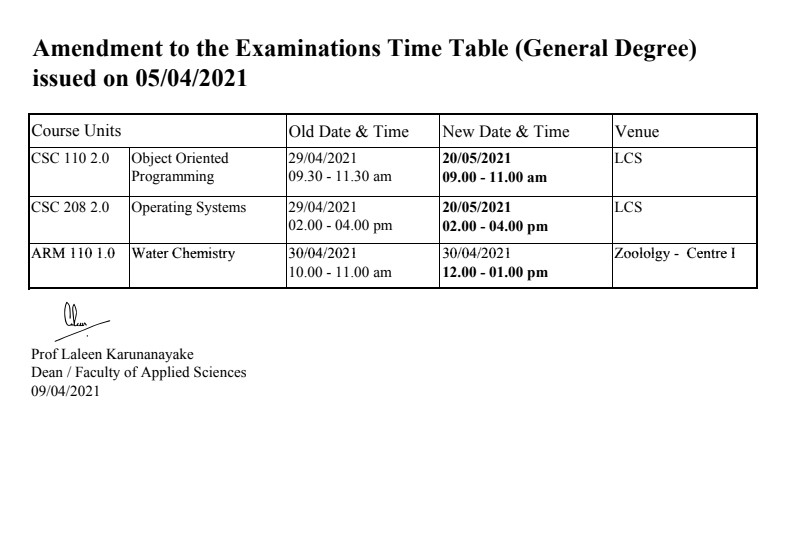 Timetable amendments